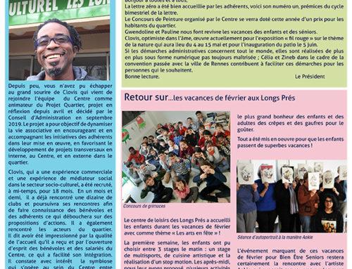 La lettre des Longs Prés n°1 Mars/Avril 2020